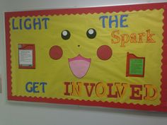 Engagement Bulletin Board! Pokemon theme to encourage residents to light the spark and get involved on campus. via Carter-William, Teague Hall