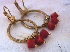 Red Coral Earrings Red Earrings French Hoop Earrings by QuietRobin, $23.00