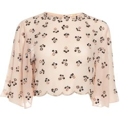 Flare Sleeve Blush Bohemian Blossom Top Blouse Vintage 20s Flapper... (1,330 MXN) ❤ liked on Polyvore featuring tops, blouses, silver, women's clothing, pink chiffon blouse, scalloped blouse, bohemian blouses, embellished blouse and bohemian tops