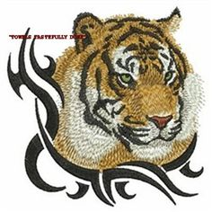 TRIBAL TATOO TIGER - 2 EMBROIDERED HAND TOWELS by Susan
