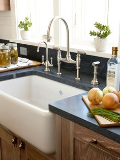 Vintage-Style Sinks  The farmhouse, or apron-style, sink is the sink of choice for many country kitchens. These deep sinks are a perfect combination of history, beauty, and durability.  MUST HAVE ONE in my kitchen!!!