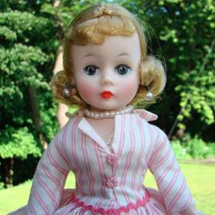 Blonde Cissette Doll in Pink Stripe Dress Box Madame Alexander Beautiful #MadameAlexander #Cissette