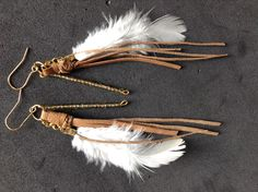 suede and white feather #feather #earrings #handmade #pretty