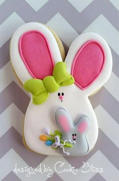 Cute spring cookies baby bunny & bow are royal icing trfs