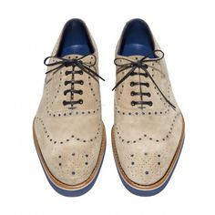 Oatmeal Suede Oxford with Cobalt Rubber Sole : Men's Footwear : Footwear