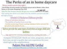 Perks Of An In Home Daycare Visit Website For More Information… Summer Daycare, Kids Daycare, In Home Daycare, Daycare Ideas, Daycare Business Plan, Daycare Spaces, Home Childcare, Starting A Daycare, Parent Night