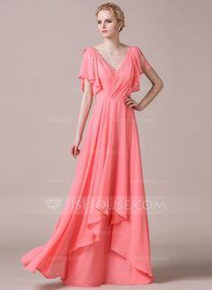 [£95.00] A-Line/Princess V-neck Floor-Length Chiffon Bridesmaid Dress With Cascading Ruffles