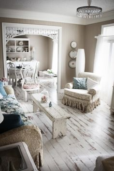 Beautiful Blue Shabby Chic Bedroom Ideas – Shabby Chic Home Interiors Shabby Chic Living Room, Farm House Living Room, Painted Wood Floors, White Washed Floors, Chic Home, Cottage Decor, Home Decor, Floor Decor, Shabby Chic Living