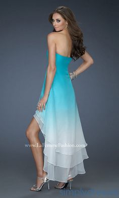 Strapless Ombre High-Low Dress LF-18049