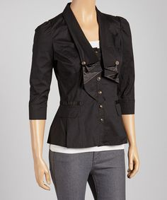 Take a look at this Black Three-Quarter Sleeve Blazer by High Fashion on #zulily today!