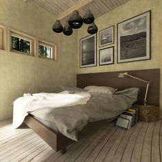 eco-friendly-house-bedroom Split Level House Plans, Square House Plans, Metal House Plans, Small Modern House Plans, House Plan With Loft, Up House, Home Bedroom, Modern Bedroom, House Plans South Africa