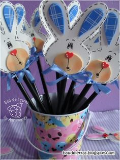 Bunny head stick...very cute...w/pattern, NOT in English