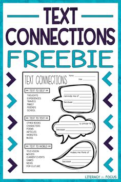 Free Text Connections Worksheet. Text Connections with Sentence Frames. Text Connections Freebie. Text to Self, Text to Text, Text to World Activity. #freebie #freeprintable #textconnections Making Connections Activities, Free Teaching Resources, Teacher Resources, Teaching Ideas, 6th Grade Ela, 4th Grade Reading, Reading Strategies, Reading Comprehension, Reading Groups