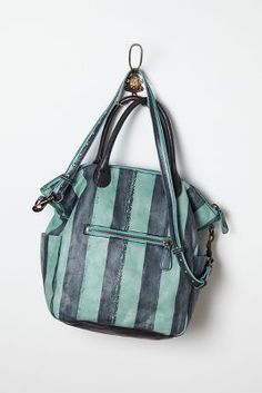 madrid leather striped tote