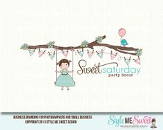 Sweet Saturday Party Decor Character Illustrated Logo