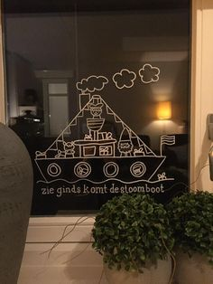 Sint pakjesboot #raamtekening door Jolanda M. Christmas Diy, Christmas Decorations, Xmas, Holiday Decor, Saints For Kids, Diy For Kids, Crafts For Kids, Diy Artwork, Chalk Markers