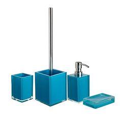 Teal bathroom accessories Teal Bathroom Accessories, Color Inspiration, Gadgets, Sink, Aqua, New Homes, Indoor, House, Bathroom Ideas