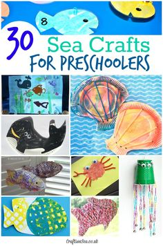 Preschool Sea Crafts for Kids - fun fish crafts, fine motor skills activities, paper plate crafts and loads Ocean Crafts, Fish Crafts, Beach Crafts, Summer Crafts, Seashell Crafts, Water Crafts, Paper Plate Crafts For Kids, Crafts For Kids To Make, Art For Kids