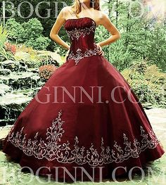 DUCHESS SATIN EMBROIDERY BURGANDY FLOOR LENGTH BALLGOWN WEDDING DRESS