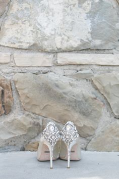 White embellished pointed toe pumps: Photography: Jasmine Star Photography - jasminestarphotography.com   Read More on SMP: http://www.stylemepretty.com/california-weddings/2016/09/08/glamorous-cranberry-blush-bel-air-bay-club-wedding/