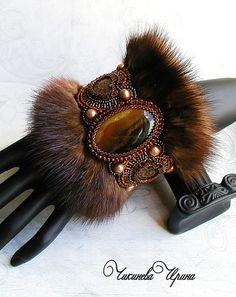 """Браслет с мехом """"Скандинавия"""" - коричневый,браслет,мех норки,натуральные камни"""