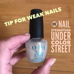 Get weak, peeling and brittle nails stronger with nail strengthening base coat. You can use Color Street over any base coat. #tips #nails #nailpolish #nailsart