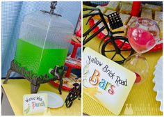 Yellow Brick Road Bars (lemon bars) and wicked witch punch (or could use rainbow slush)
