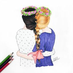 Besties for live Girly M, Best Friend Drawings, Bff Drawings, Drawing Sketches, Bff Pics, Friend Pictures, Cute Friends, Best Friends Forever, Beautiful Drawings