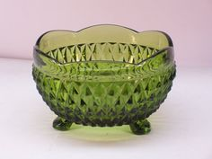 Vintage 1960's Indiana Glass Colonial Green Diamond Point 3 Footed Candy Bowl by GarageSaleGlass, $21.99