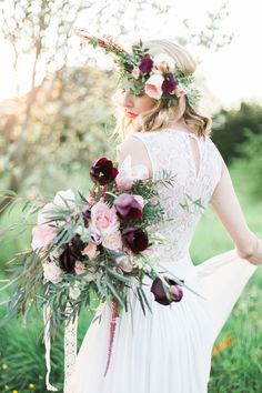 Wessex Flower Company | Boho Ethereal Wedding style | Tulips | Flower Crown