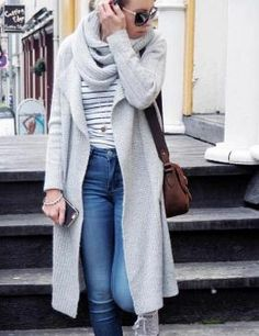 Women's Knitted Cardigan with Scarf
