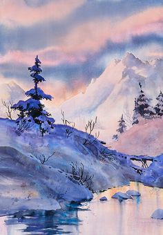 Spruce Shadows. watercolor by Teresa Ascone
