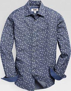 f02c03d15 Joseph Abboud Indigo Floral Sport Shirt - Men's Shirts   Men's Wearhouse