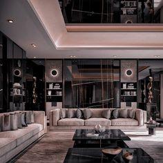 Dream House Interior, Luxury Homes Dream Houses, Dream Home Design, Modern House Design, Black Interior Design, Interior Modern, Interior Architecture, Motif Simple, Dark Interiors