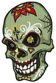 Tattooed scull machine embroidery design. Machine embroidery design. www.embroideres.com
