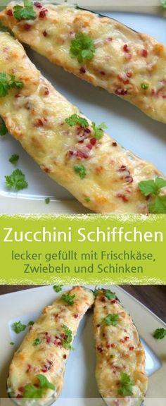 Rezept für Zucchini-Schiffchen, lecker mit Frischkäse, Zwiebeln und Schinken und Käse überbacken. Auch ohne Schinken, als vegetarisches Gericht lecker. – Meine Stube #Gemüse #Zucchini