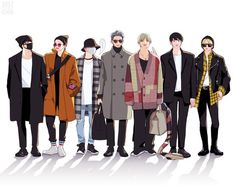 FanArt/ BTS Airport Outfits for the American Music Awards Bts Ships, Bts Airport, Airport Outfits, Bts Anime, Min Yoonji, Bts Drawings, American Music Awards, Bts Fans, Kpop Fanart