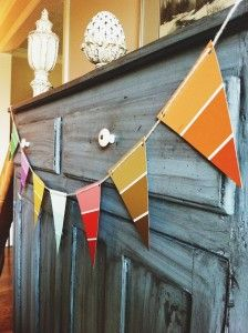 This DIY Paint Chip Banner is a great way to decorate for your housewarming party on a budget.