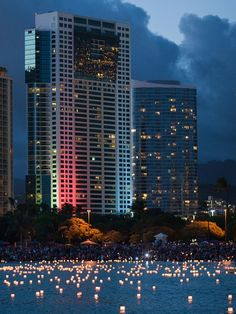 Honolulu Lantern Festival, Oahu, Hawaii. Every year on Memorial Day, thousands of people gather on Oahu's southern shore to honor those who have sacrificed their lives in war, for loved ones who have passed away, and to generate hope toward a harmonious and peaceful future.