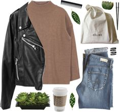 I'm a million different people by nandim featuring artificial flowers ❤ liked on Polyvore  Brown sweater / Moto jacket / AG Adriano Goldschmied cropped jeans / CÉLINE leather tote bag / Clips hair accessory / GHD brushes comb, $9.39 / Lux Art Silks...