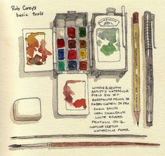 rob carey's sketch of his basic tools.  it almost aches when i find an artist's style that Really inspires, because i wonder when i'll ever get back to honing my own skill.  rob's style is incredible, and i just Had to know what tools he used! (have also read through urban sketchers blog that he now uses a lamy safari fountain pain with noodler's bulletproof ink, think he finally got a mechanical sketching pencil, too)