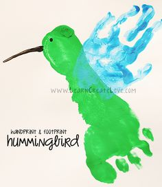 Handprint and Footprint Hummingbird Craft