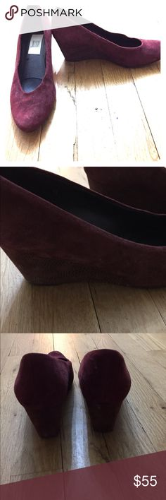 Maroon suede low snakeskin wedges These are gently worn suede wedges with a low snakeskin wedge and pointy-ish front. Super comfortable and stylish jildor Shoes Wedges