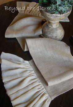 LOVE the ruffle Onasburg Fabric or muslin & burlap