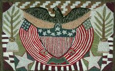 """Sailor's """"Woolies"""" A Fine Woolwork Picture of An American Eagle and Flag, Circa 1860"""