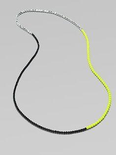 FLorian Long Colorblocked Bead Necklace (link: http://www.saksfifthavenue.com/main/ProductDetail.jsp?FOLDER%3C%3Efolder_id=2534374306418142&PRODUCT%3C%3Eprd_id=845524446473647&R=401661057882&P_name=FLorian&N=306418142+1536+399545627+1537&bmUID=joIGg9E ) cool diy, minimal diy, coloblock diy, diy projects, diy ideas
