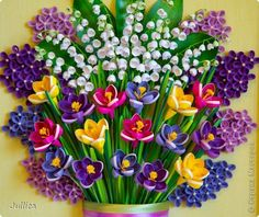 Picture, pictures, graphic Quilling crocus, lilies of the valley and lilac paper strips.  Photo 12  Unbelievable quilling!  Site is in Russian.