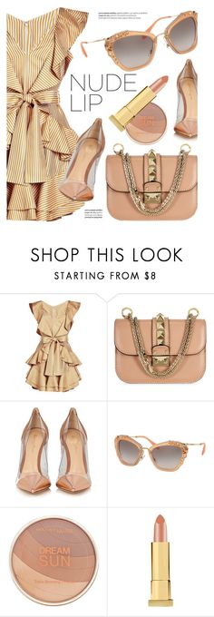 """""""Impress"""" by smartbuyglasses-uk ❤ liked on Polyvore featuring Zimmermann, Gianvito Rossi, Miu Miu, Balmain, Maybelline, Kevyn Aucoin, beige and nude"""