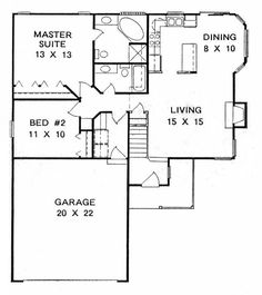 1071 sq ft first floor plan of traditional house plan 62507 - Small House Blueprints