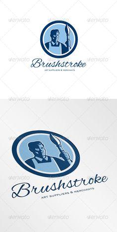 Brushstroke Art Suppliers and Merchants Logo Design Template Vector #logotype Download it here: http://graphicriver.net/item/brushstroke-art-suppliers-and-merchants-logo/6943842?s_rank=1753?ref=nesto